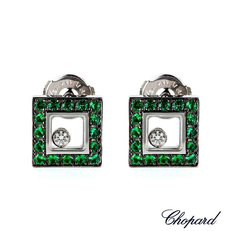Chopard 18k W/G Happy Diamonds Emerald Earrings 83/2896-1007